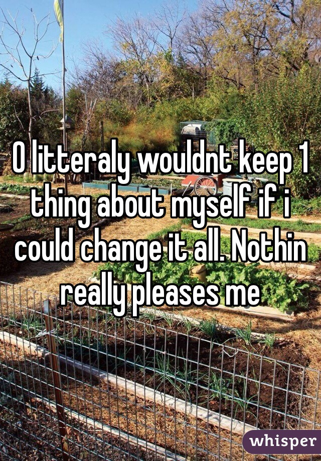 O litteraly wouldnt keep 1 thing about myself if i could change it all. Nothin really pleases me