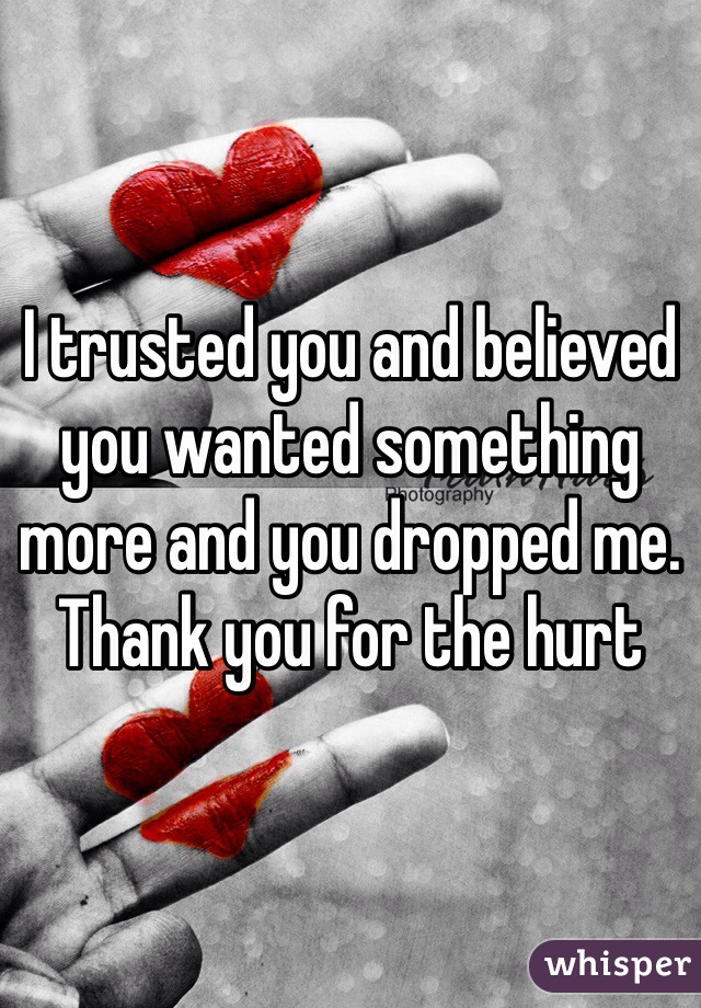 I trusted you and believed you wanted something more and you dropped me. Thank you for the hurt