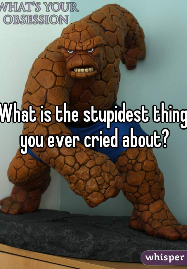 What is the stupidest thing you ever cried about?