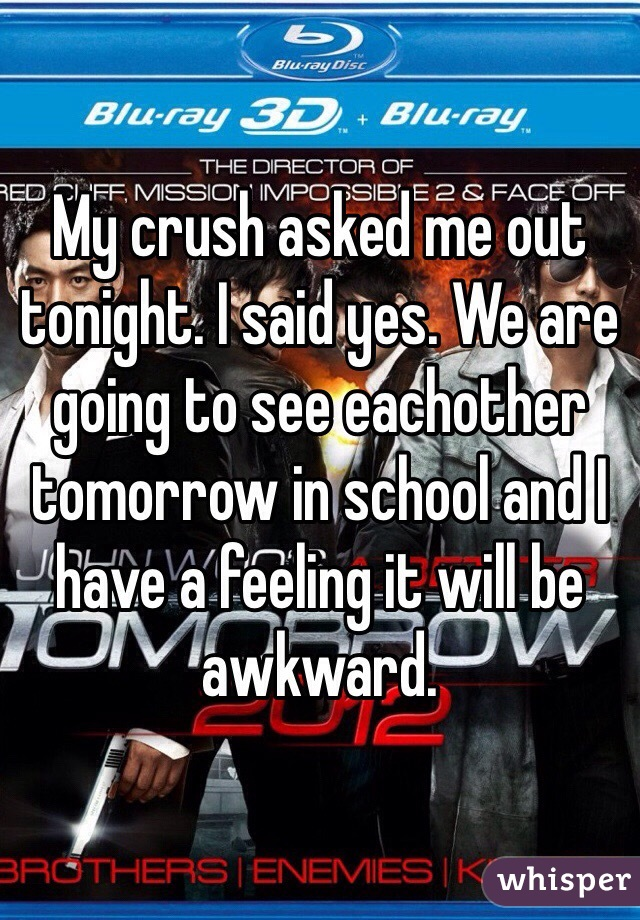 My crush asked me out tonight. I said yes. We are going to see eachother tomorrow in school and I have a feeling it will be awkward.