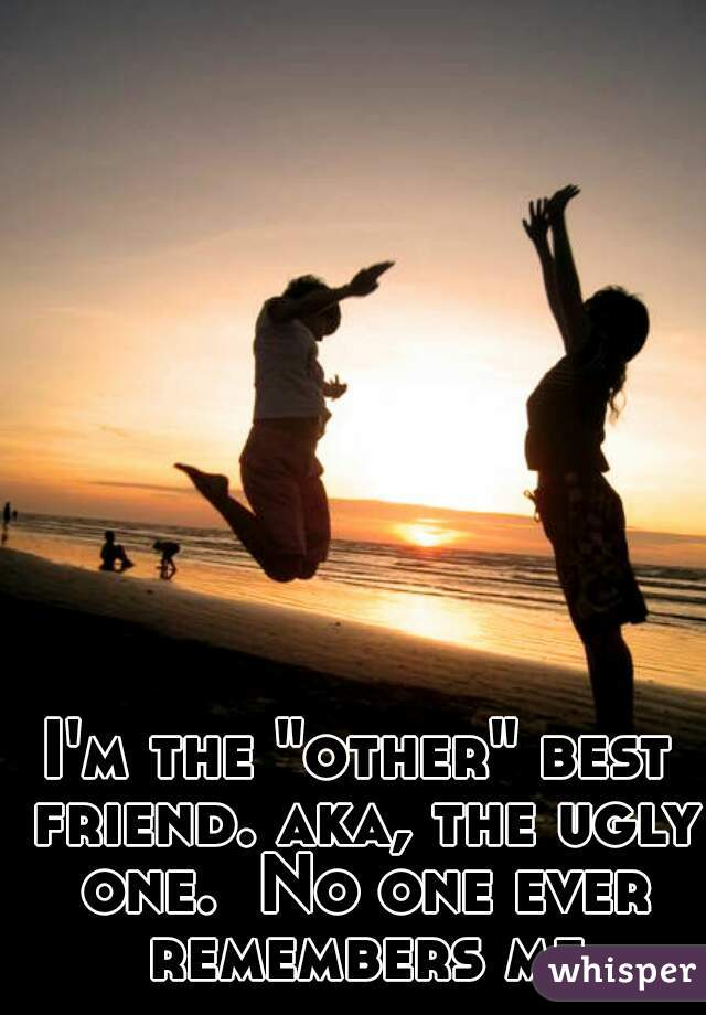 "I'm the ""other"" best friend. aka, the ugly one.  No one ever remembers me"