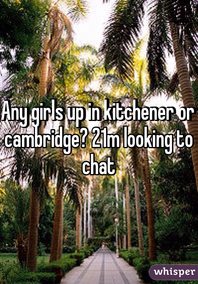 Any girls up in kitchener or cambridge? 21m looking to chat