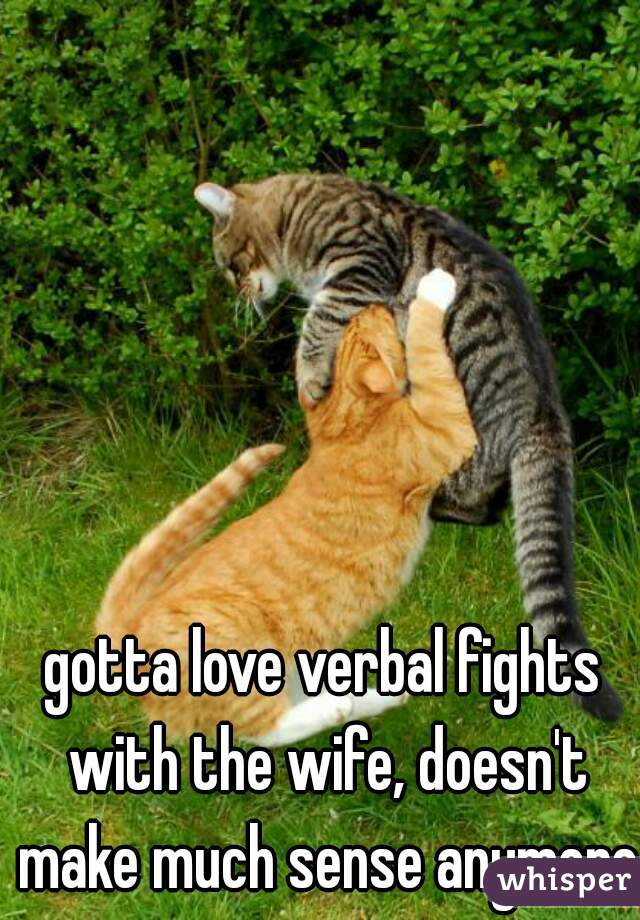 gotta love verbal fights with the wife, doesn't make much sense anymore!