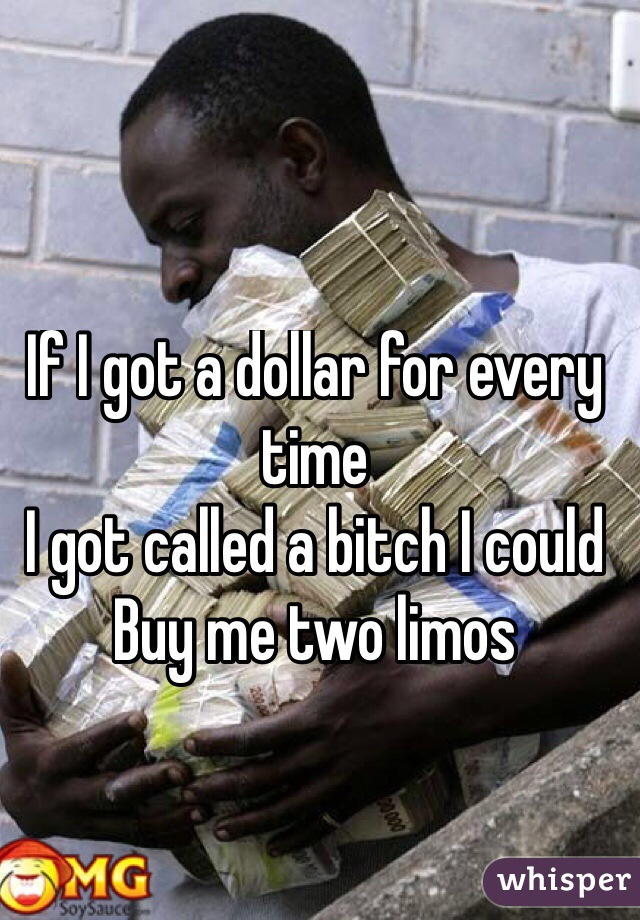 If I got a dollar for every time I got called a bitch I could Buy me two limos