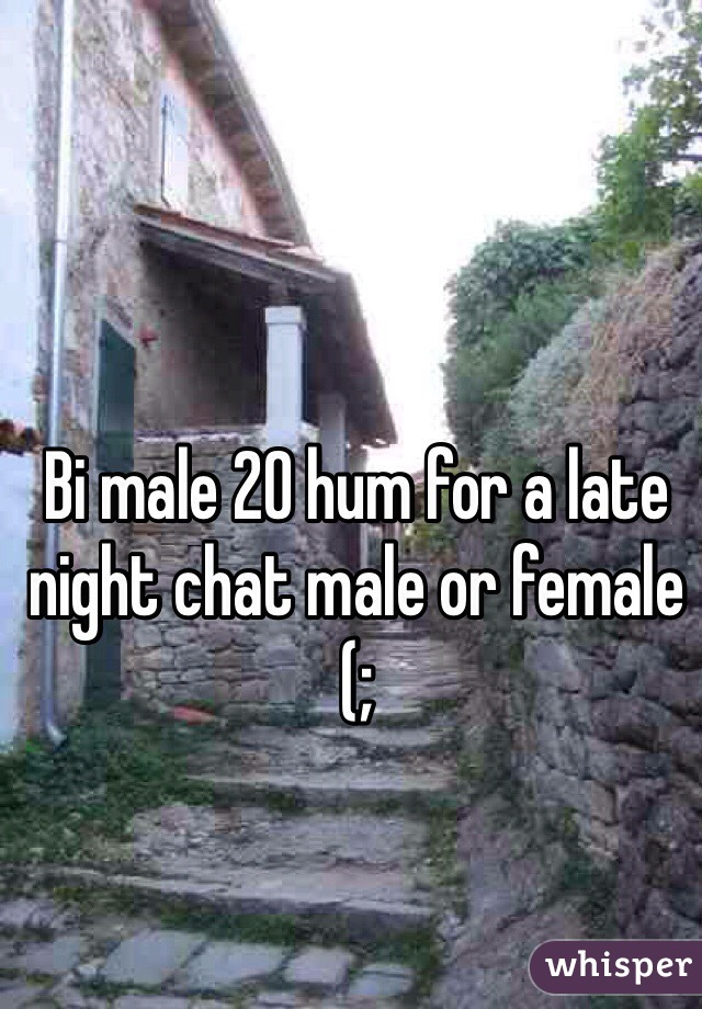 Bi male 20 hum for a late night chat male or female (;