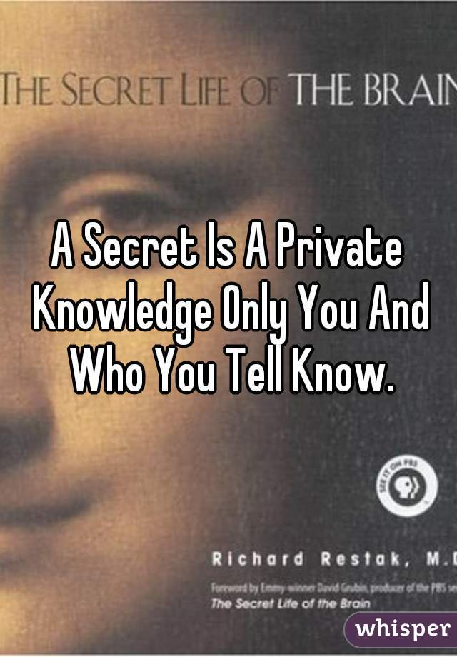 A Secret Is A Private Knowledge Only You And Who You Tell Know.