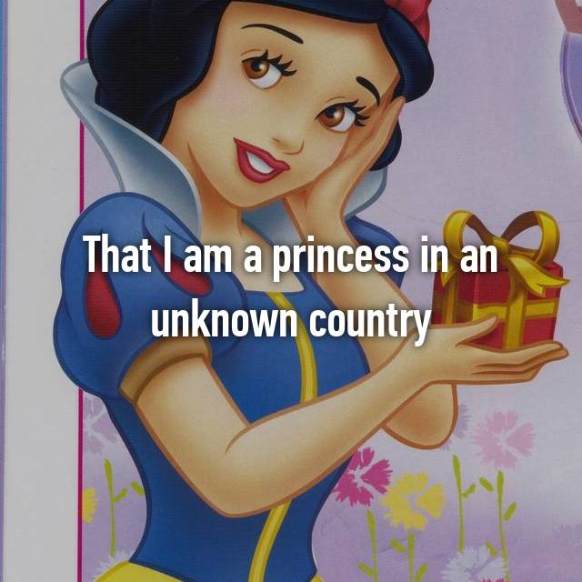 That I am a princess in an unknown country