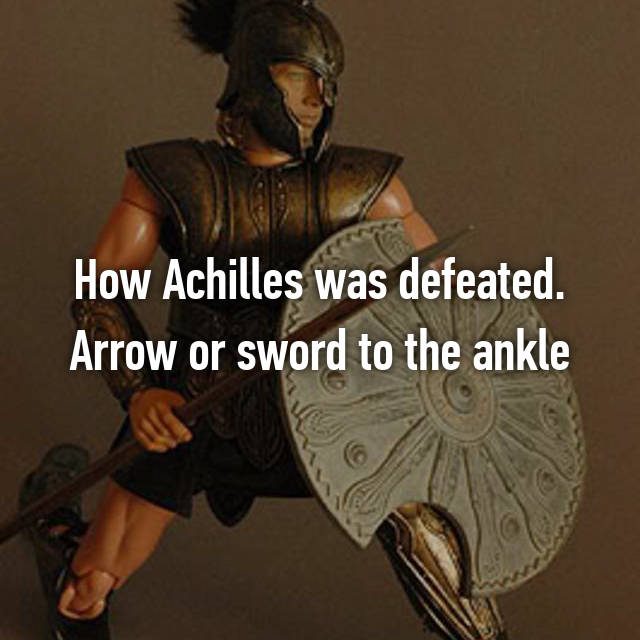 How Achilles was defeated. Arrow or sword to the ankle