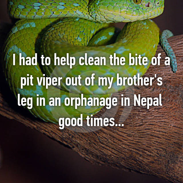 I had to help clean the bite of a pit viper out of my brother's leg in an orphanage in Nepal 😂 good times...