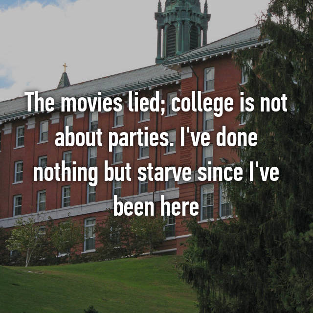 The movies lied; college is not about parties. I've done nothing but starve since I've been here