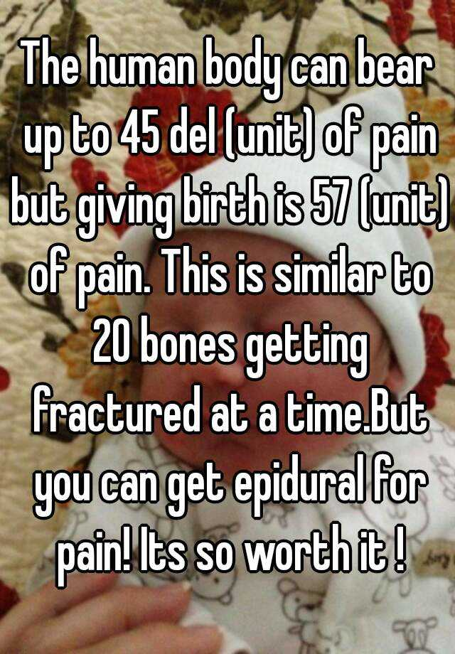 The human body can bear up to 45 del (unit) of pain but giving ...