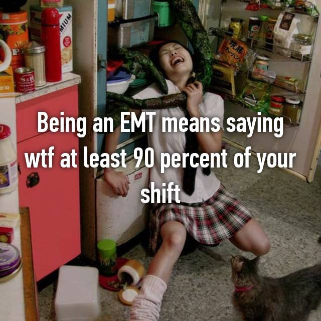 Being an EMT means saying wtf at least 90 percent of your shift