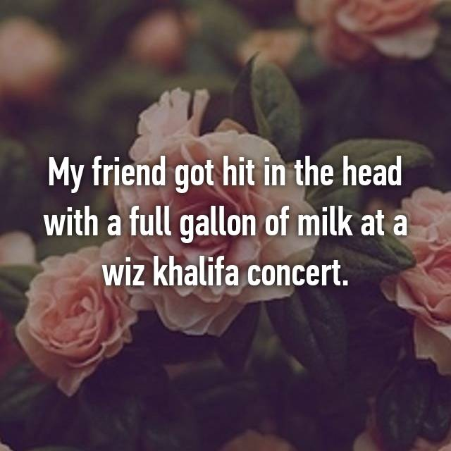 My friend got hit in the head with a full gallon of milk at a wiz khalifa concert.