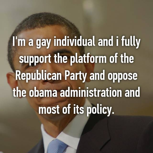 I'm a gay individual and i fully support the platform of the Republican Party and oppose the obama administration and most of its policy.