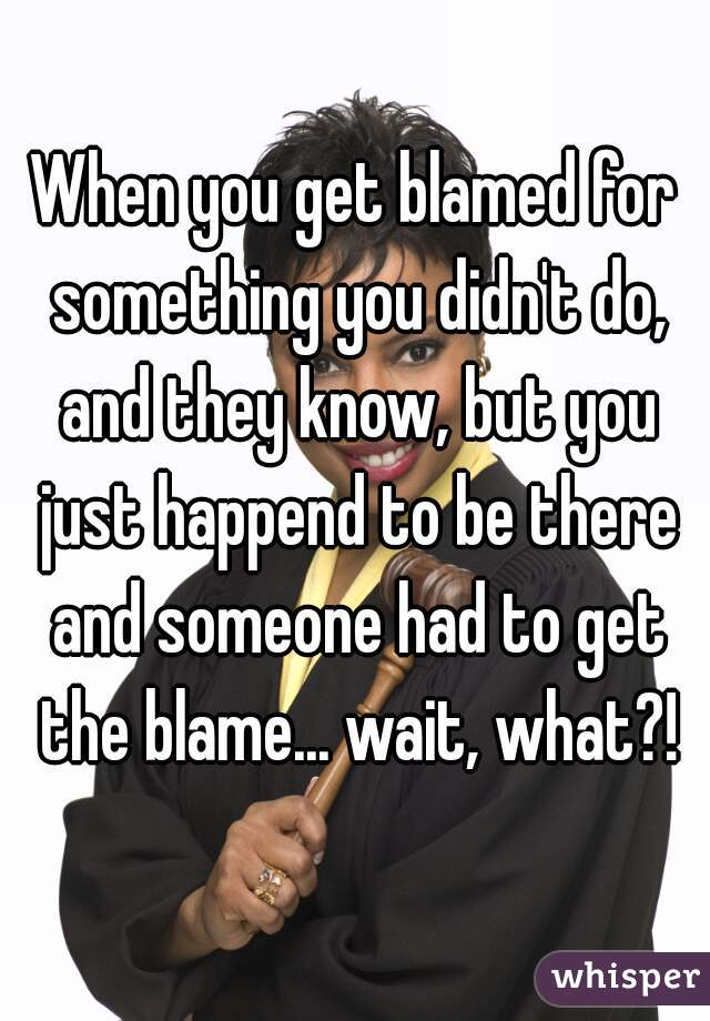 being blamed for something you did not do If you feel an incredible surge of internal resistance about what is being said or toward continuing to ask mature and responsible people for an outside perspective, that too tells you something (if you don't know any stable and reliable people to ask that should really tell you something.