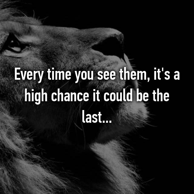 Every time you see them, it's a high chance it could be the last...