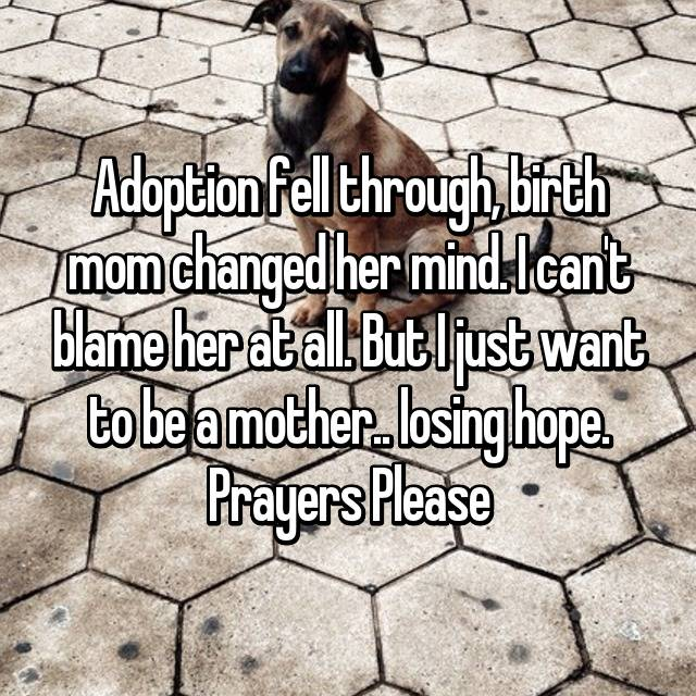 Adoption fell through, birth mom changed her mind. I can't blame her at all. But I just want to be a mother.. losing hope. Prayers Please