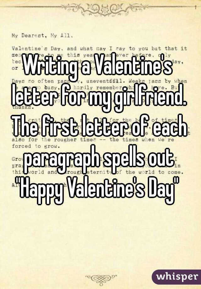 A Valentine S Letter For My Girlfriend The First Of Each