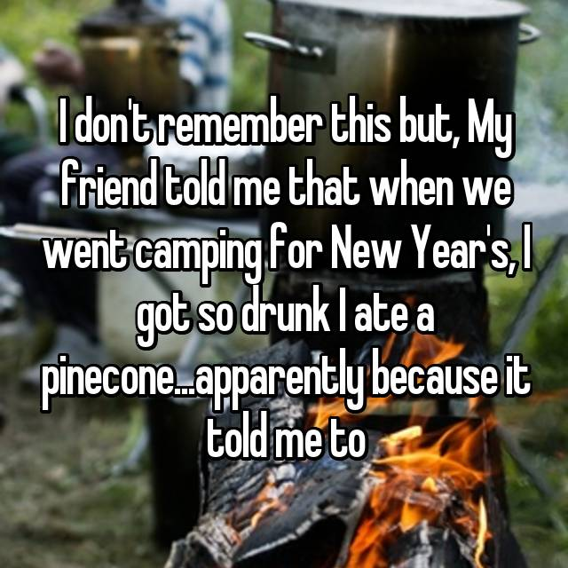 I don't remember this but, My friend told me that when we went camping for New Year's, I got so drunk I ate a pinecone...apparently because it told me to