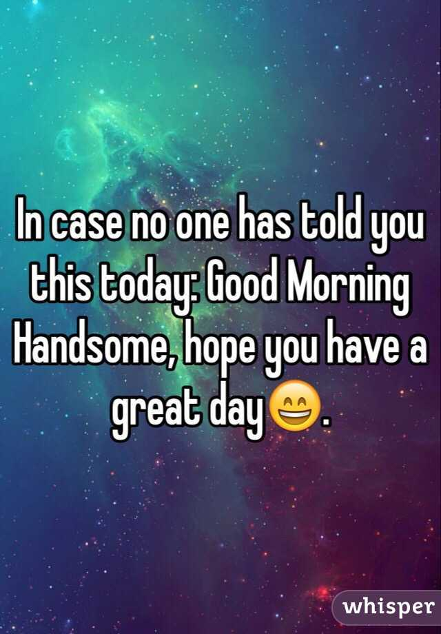 Good Morning Beautiful Hope You Have A Great Day : In case no one has told you this today good morning