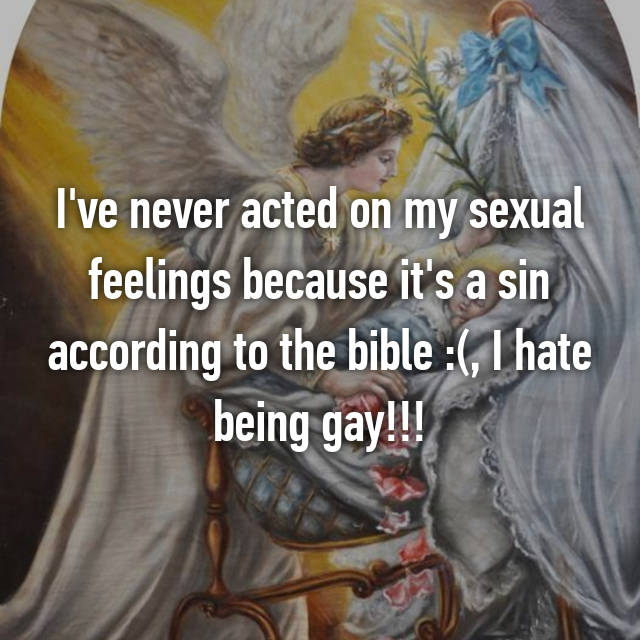 I've never acted on my sexual feelings because it's a sin according to the bible :(, I hate being gay!!!