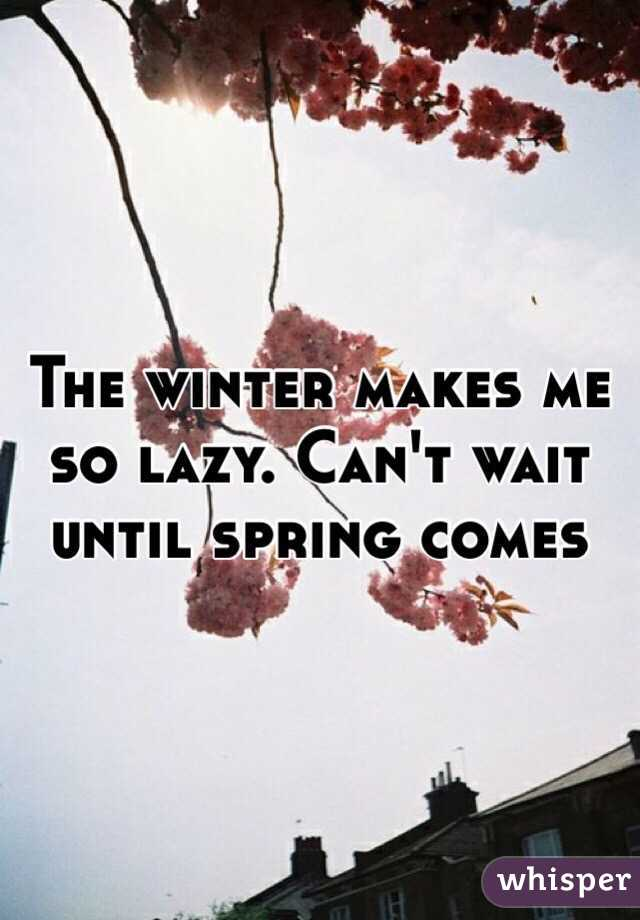 The winter makes me so lazy. Can't wait until spring comes - Whisper