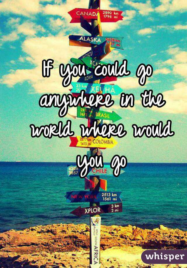 """if you could travel anywhere in the world where would you go and why Attributed to augustine of hippo, """"the world is a book, and those who don't travel  read only one page"""" start the next chapter of your journey."""