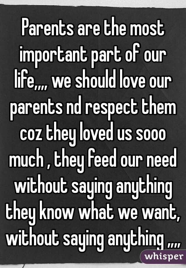 important of parents in our life The importance of parents in life is depending on our sanskaras and thinking parents play the biggest role in our development father & mother play important role in our mental, physical, social, financial and career development.