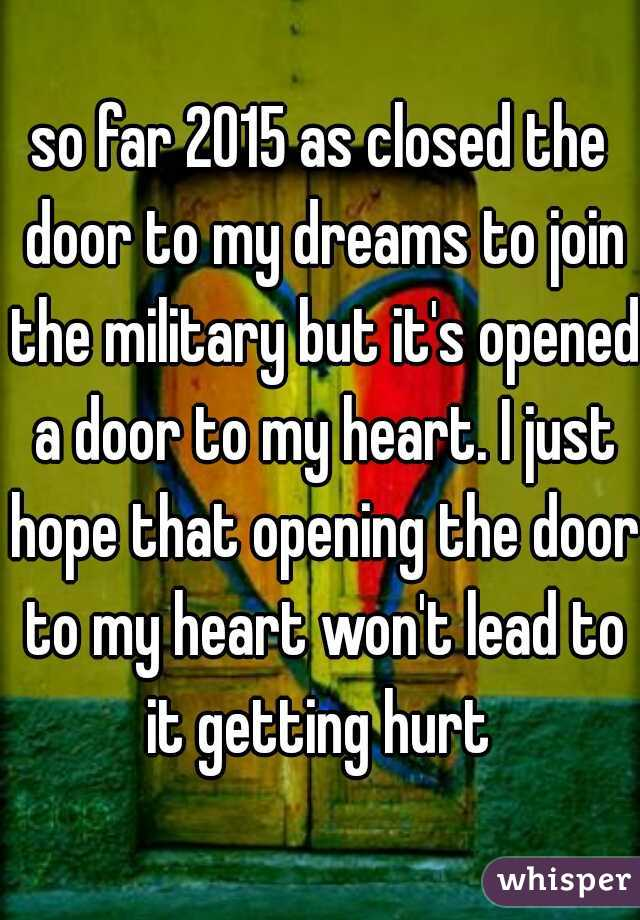 so far 2015 as closed the door to my dreams to join the military ...