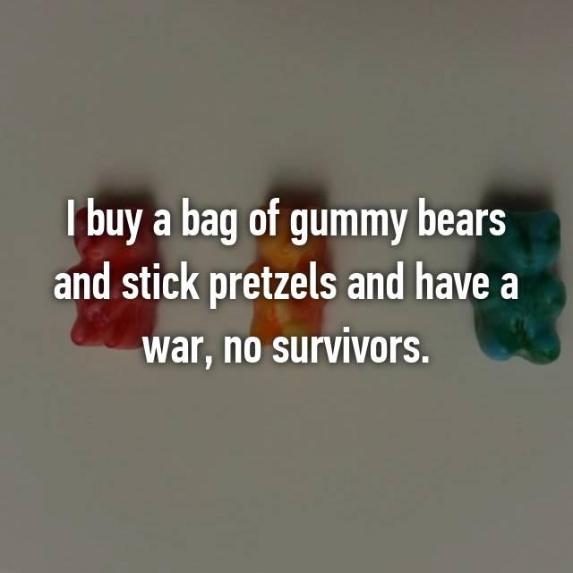 I buy a bag of gummy bears and stick pretzels and have a war, no survivors.