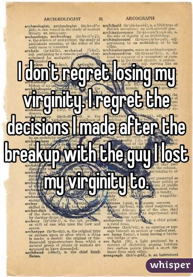 Virginity loss and breakup