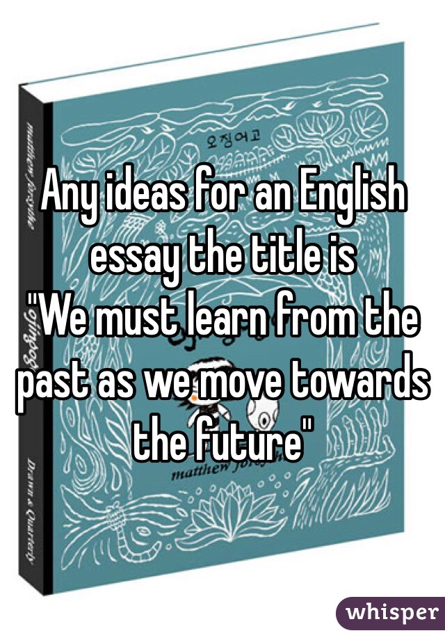 An English essay idea?