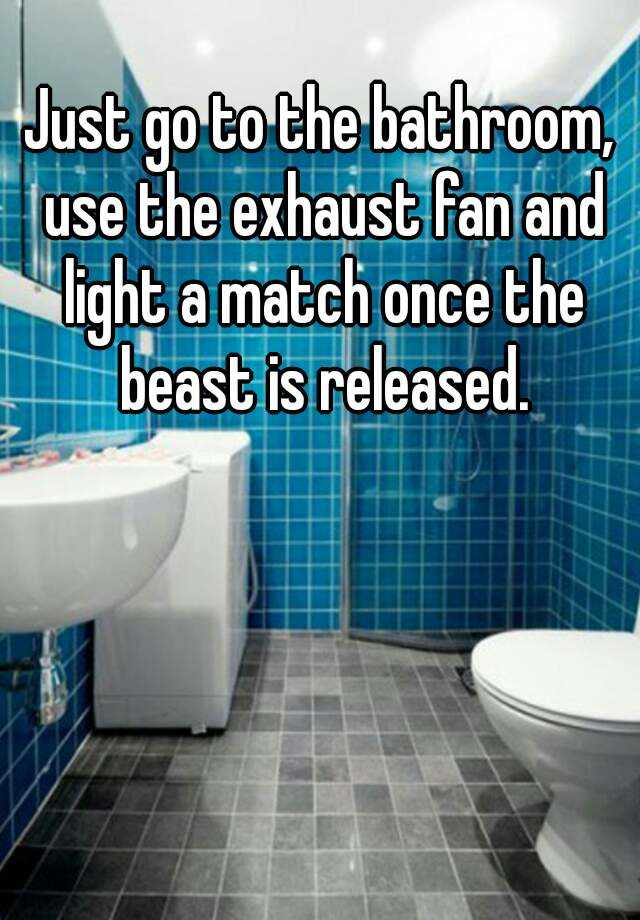 Just go to the bathroom use the exhaust fan and light a match once the : light a match bathroom - www.canuckmediamonitor.org