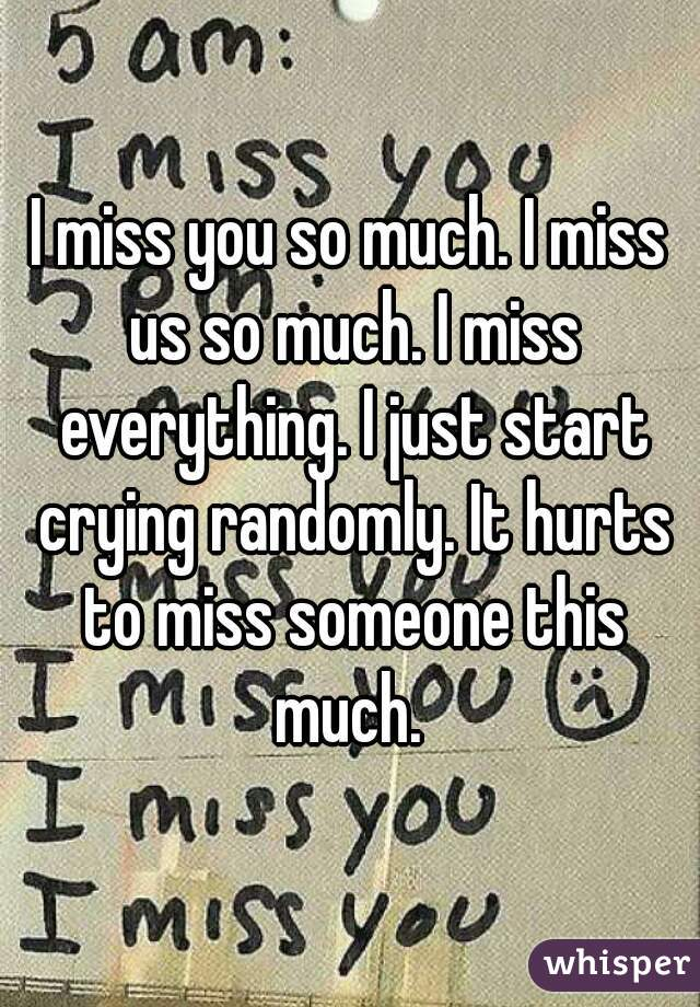 I Miss You So Much. I Miss Us So Much. I Miss Everything