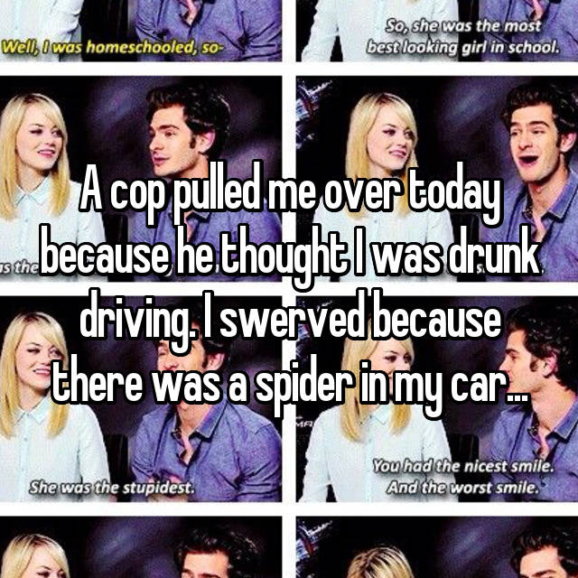 A cop pulled me over today because he thought I was drunk driving. I swerved because there was a spider in my car...