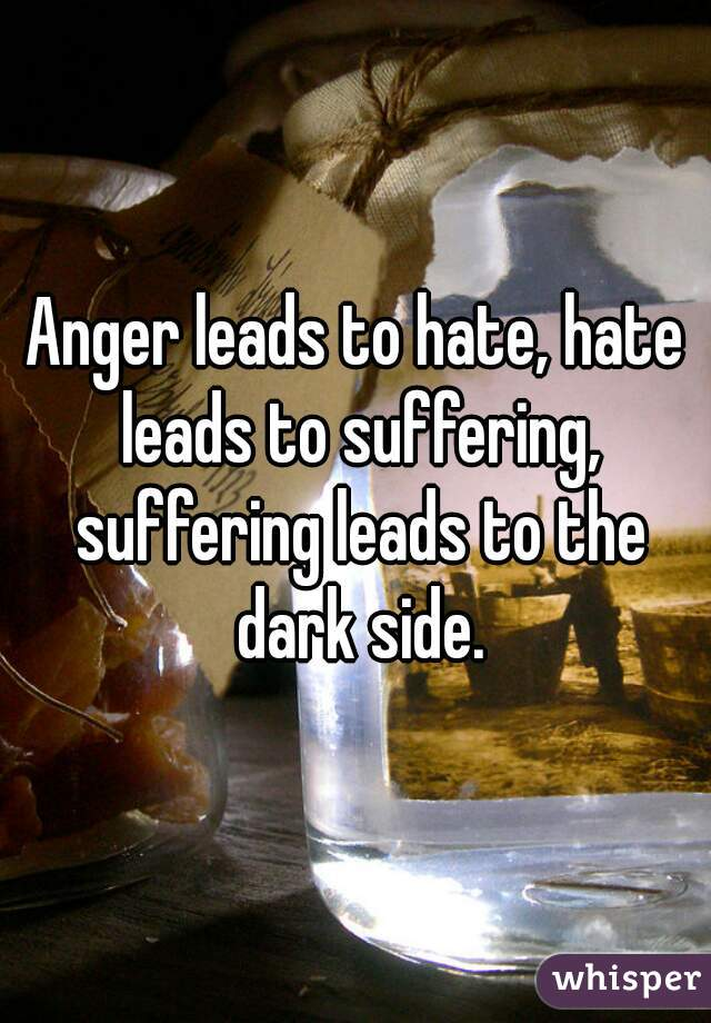 Anger Hate Anger Leads to Hate