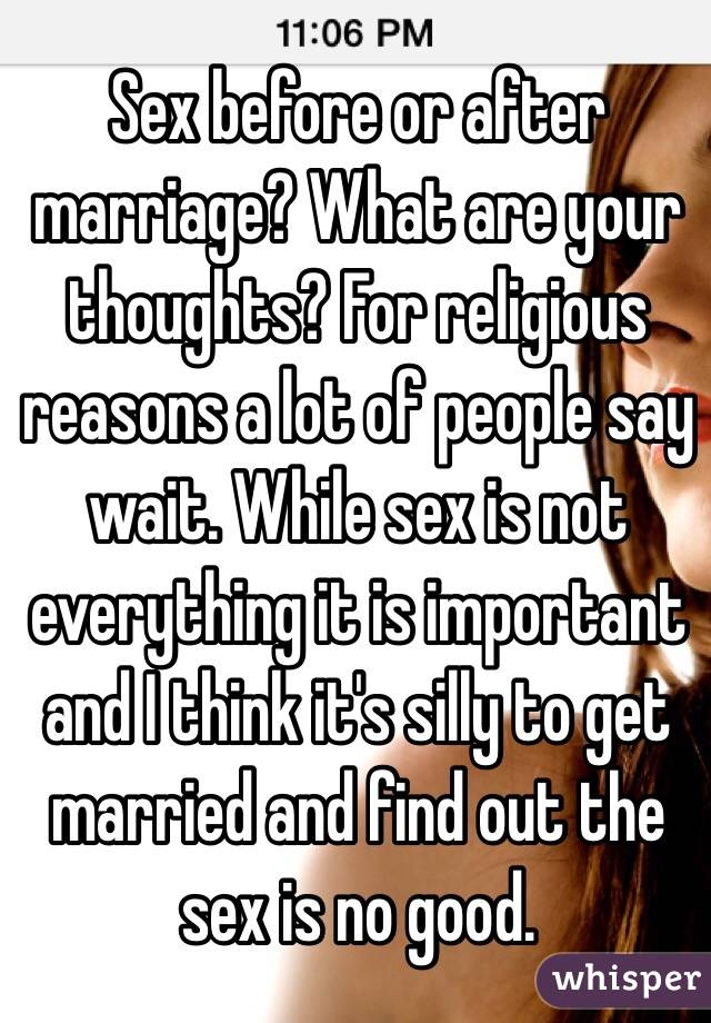Think, how important is sex in marriage that