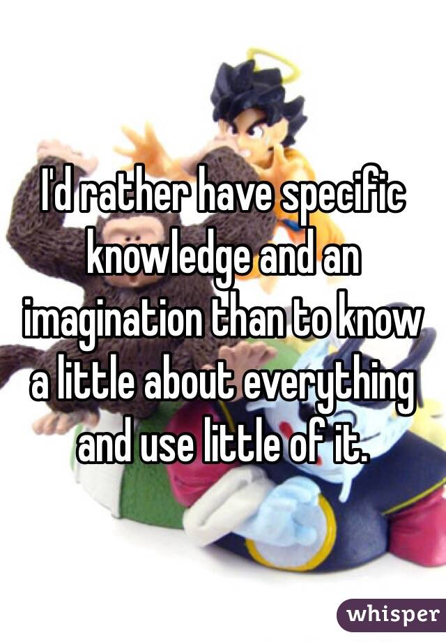 I'd rather have specific knowledge and an imagination than to know a little about everything and use little of it.