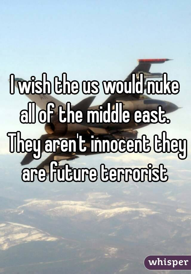 I wish the us would nuke all of the middle east.  They aren't innocent they are future terrorist
