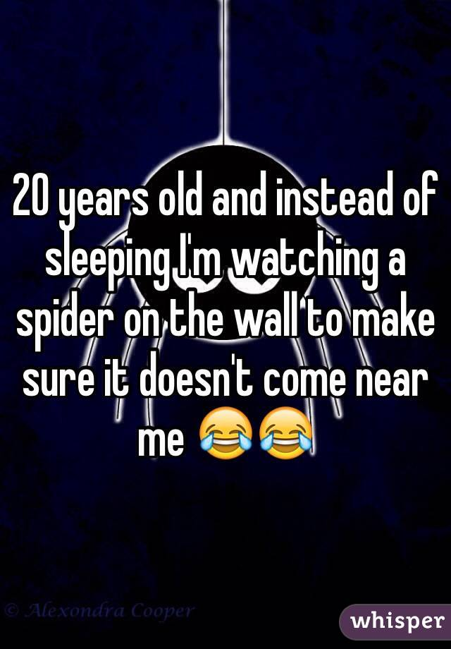 20 years old and instead of sleeping I'm watching a spider on the wall to make sure it doesn't come near me 😂😂