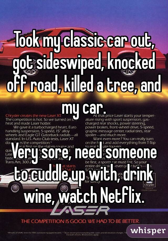 Took my classic car out, got sideswiped, knocked off road, killed a tree, and my car.   Very sore, need someone to cuddle up with, drink wine, watch Netflix.