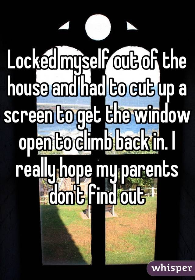 Locked myself out of the house and had to cut up a screen to get ...
