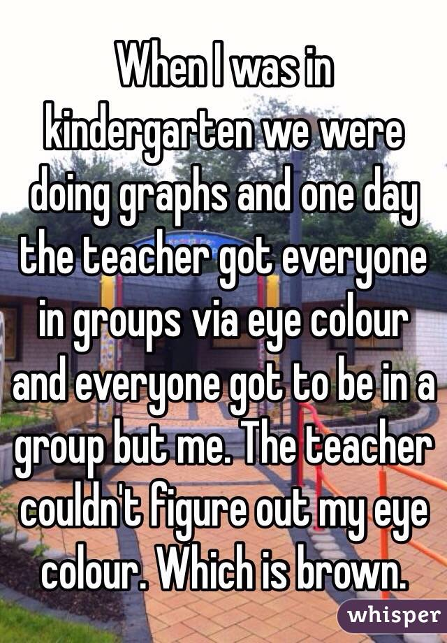 When I was in kindergarten we were doing graphs and one day the teacher got everyone in groups via eye colour and everyone got to be in a group but me. The teacher couldn't figure out my eye colour. Which is brown.