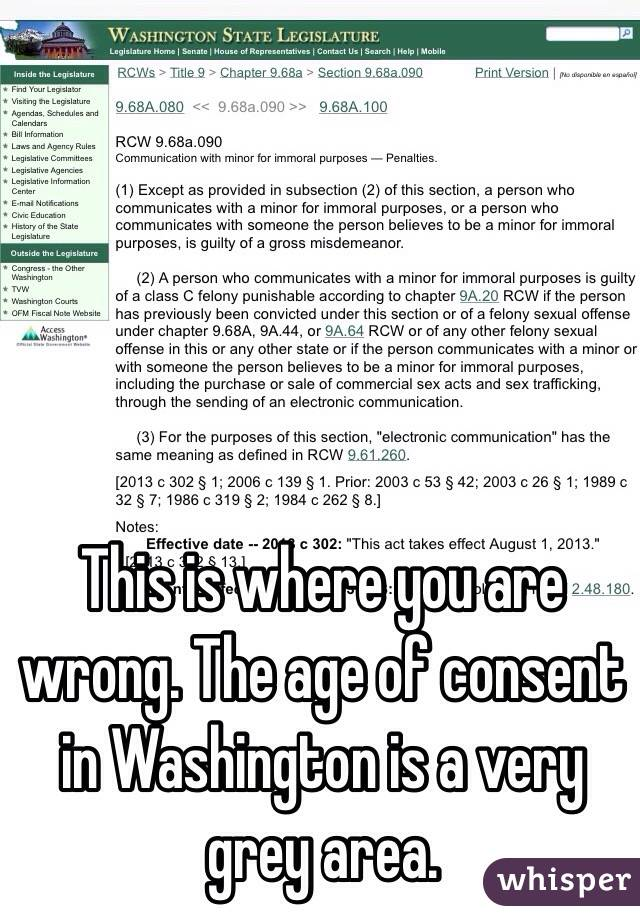 Age Of Consent For Dating In Washington
