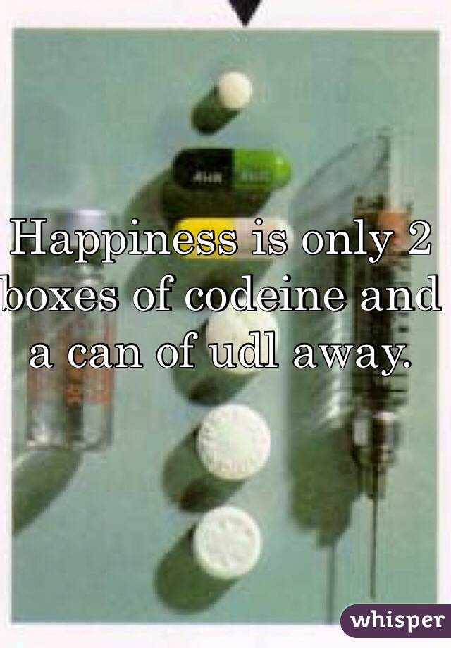Happiness is only 2 boxes of codeine and a can of udl away.