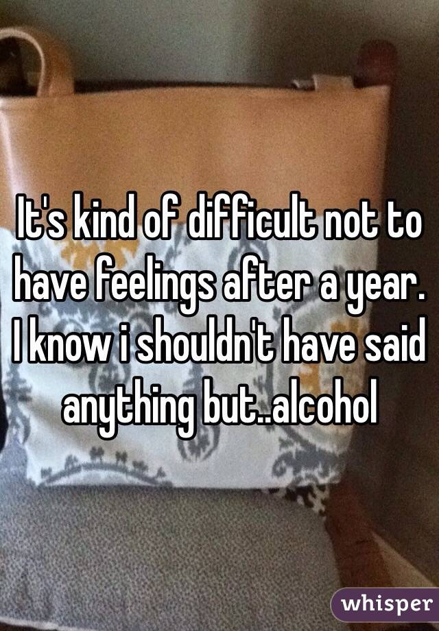 It's kind of difficult not to have feelings after a year. I know i shouldn't have said anything but..alcohol