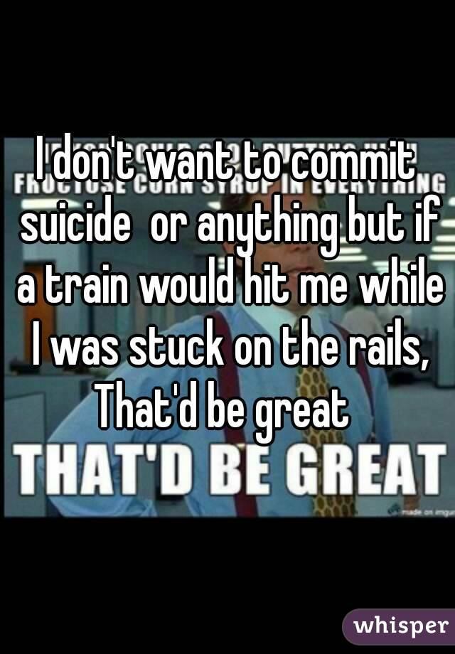 I don't want to commit suicide  or anything but if a train would hit me while I was stuck on the rails, That'd be great