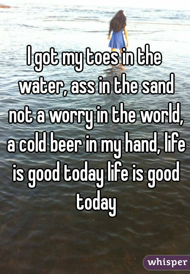 I got my toes in the water, ass in the sand not a worry in the world, a cold beer in my hand, life is good today life is good today