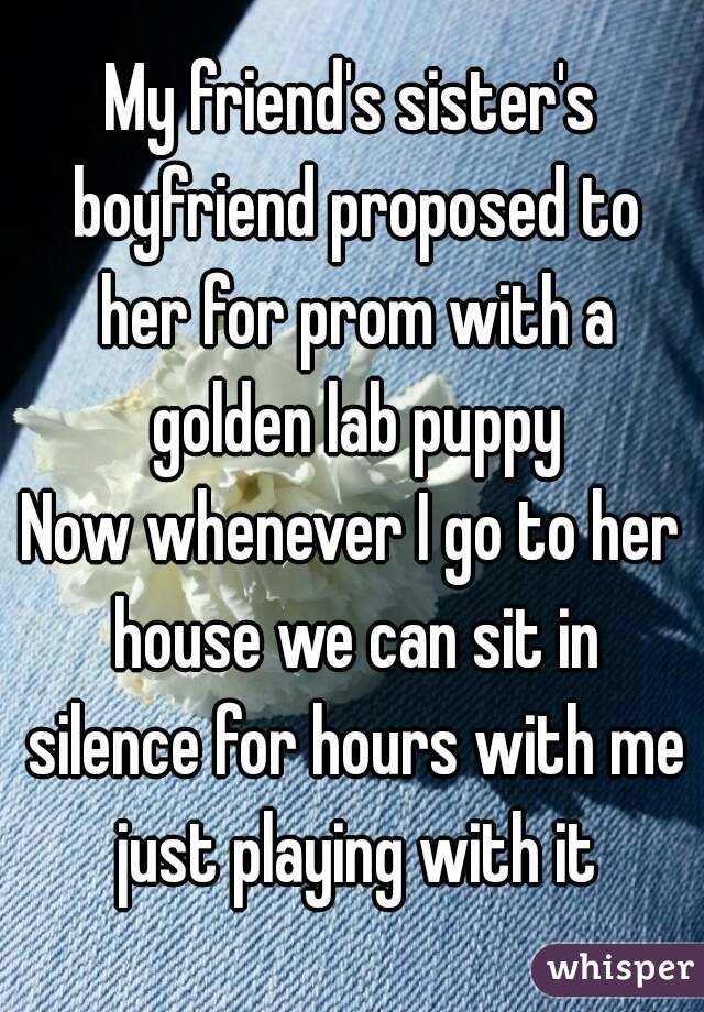 My friend's sister's boyfriend proposed to her for prom with a golden lab puppy Now whenever I go to her house we can sit in silence for hours with me just playing with it