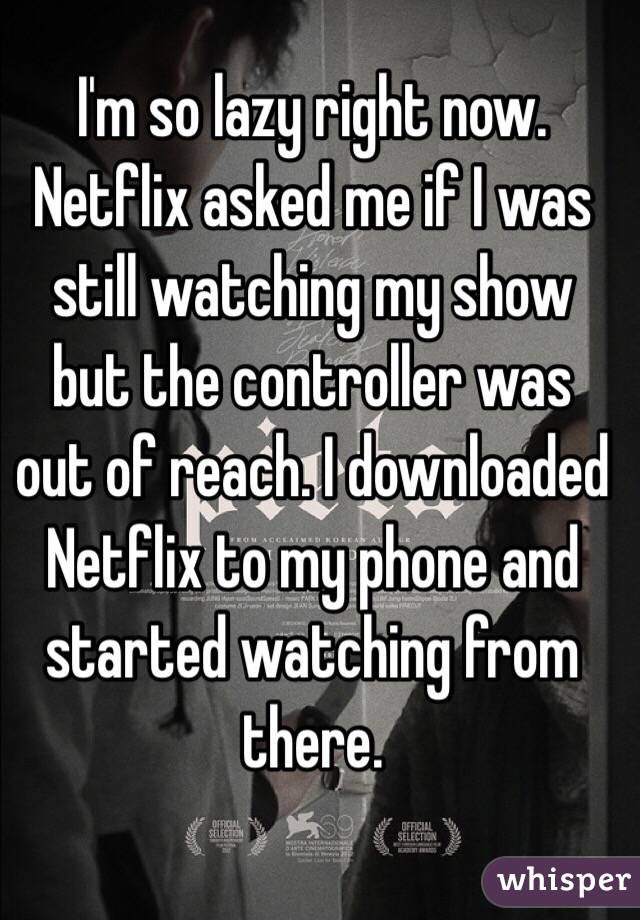 I'm so lazy right now. Netflix asked me if I was still watching my show but the controller was out of reach. I downloaded Netflix to my phone and started watching from there.